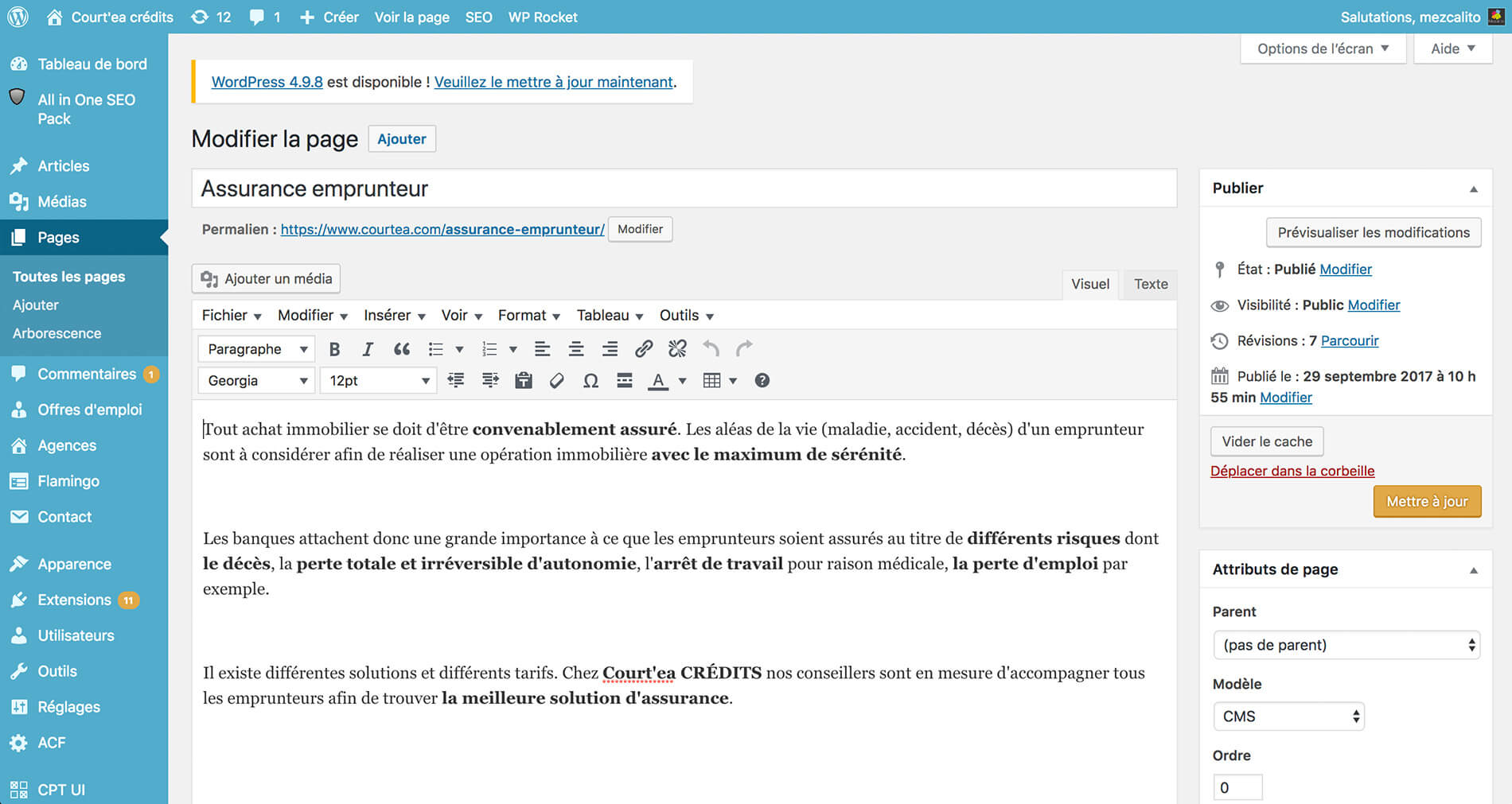 Exemple d'une page administrable (1/3)