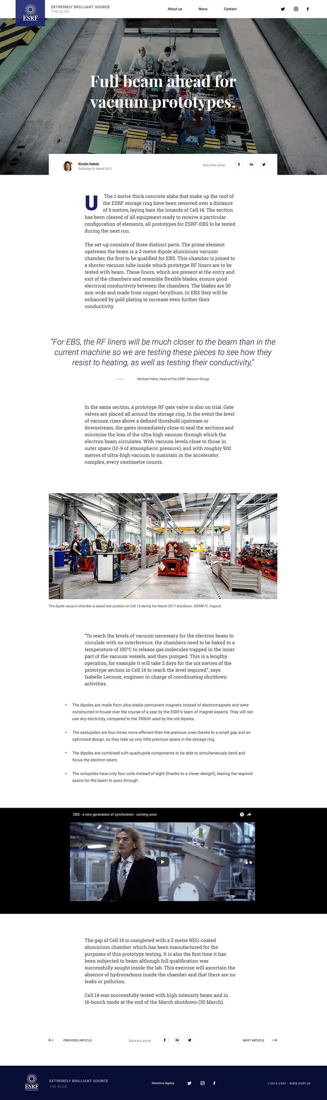 Page article du blog de l'ESRF