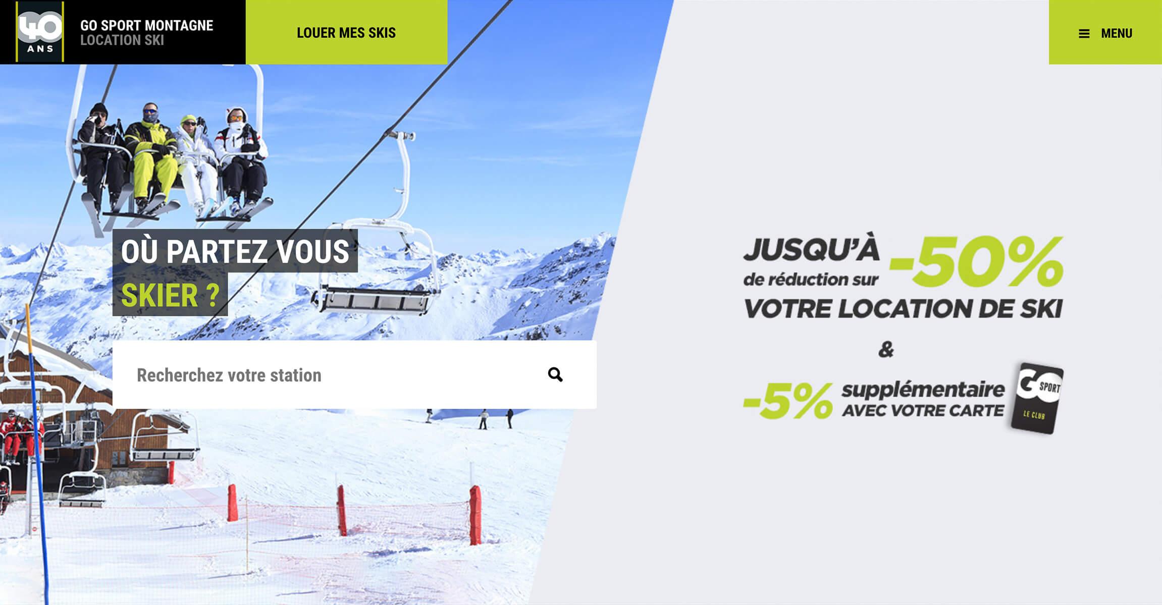 Page d'accueil du site GO Sport Montagne