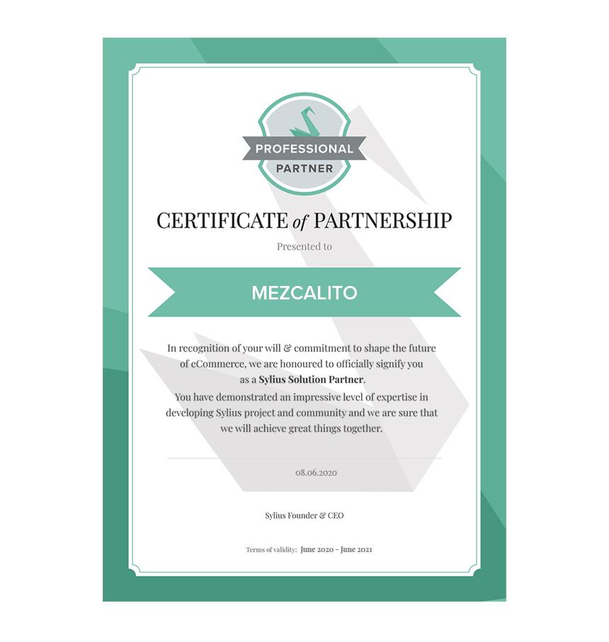 sylius certificat de partenariat mezcalito agence digitale france