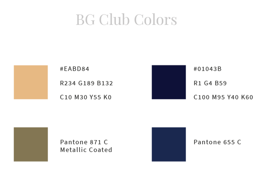 Couleurs de la charte graphique du BG-club de Bongénie-Grieder