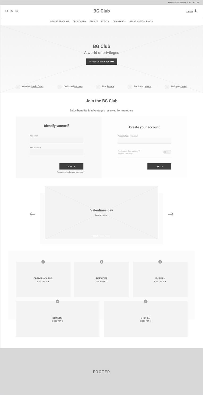 Wireframe de la homepage du BG-Club