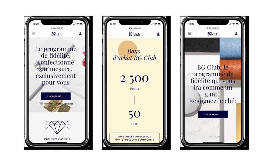 Version mobile du programme de fidélité BG Club de Bongénie-Grieder