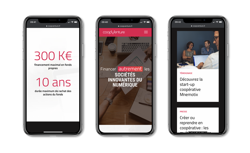 site internet mobile de CoopVenture