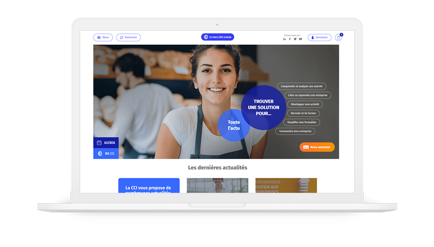 site Internet de la CCI Nice Côte d'Azur