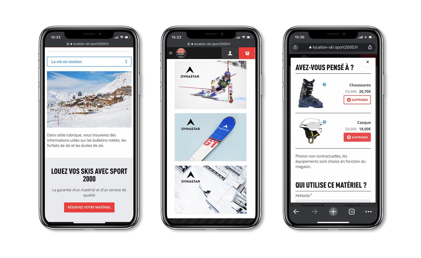Aperçu du site mobile de Location de ski Sport 2000