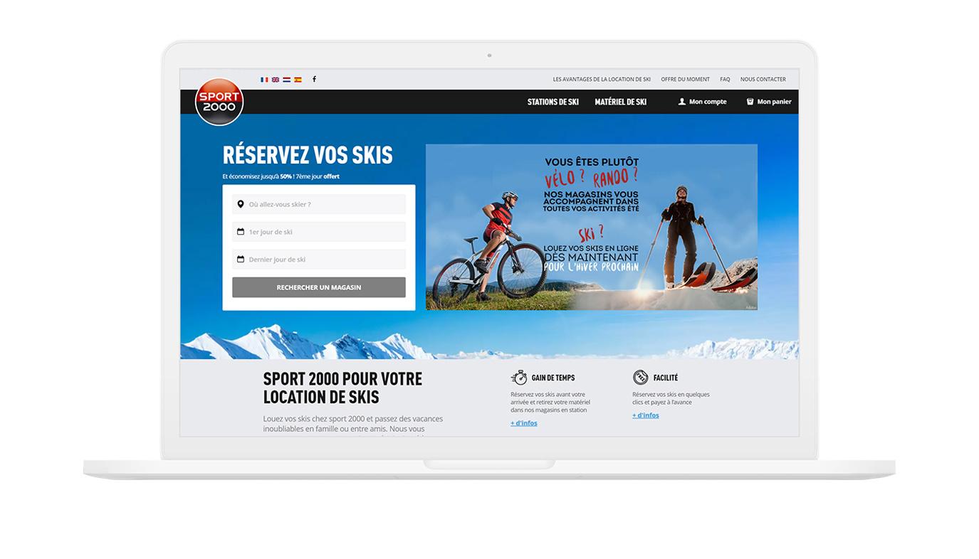 Aperçu du site Internet de Location de ski Sport 2000
