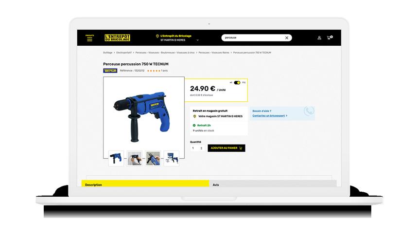 site internet entrepôt du bricolage vue catalogue produits