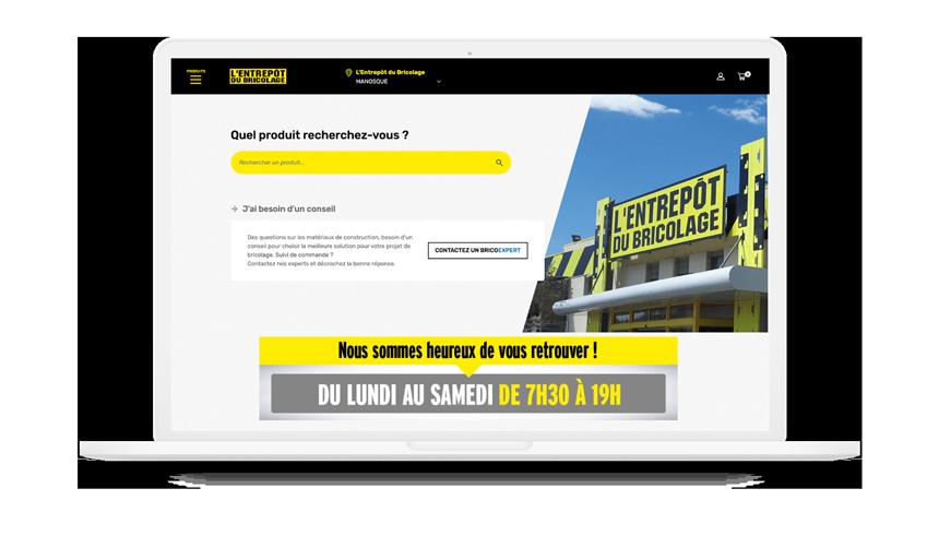 vue de la page d'accueil du site de l'entrepôt du bricolage