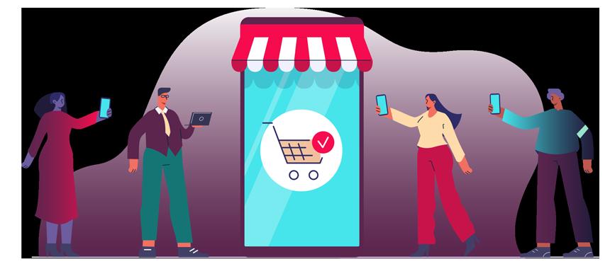 dessin de personnes procédant à des achats en ligne