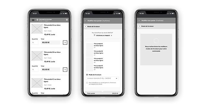 Wireframes UX dans un iPhone