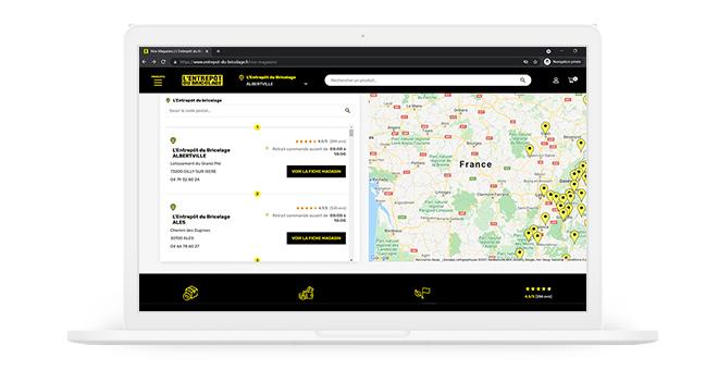 site Internet de l'Entrepôt du Bricolage : store locator