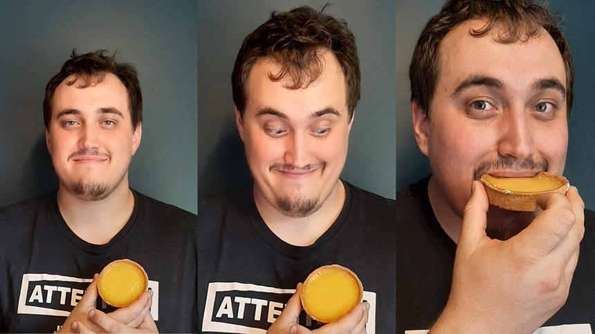 Gourmand qui mange une tarte au citron
