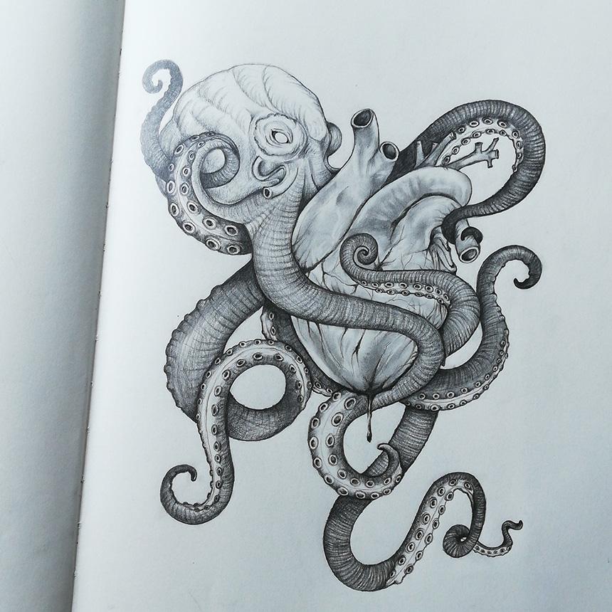 dessin d'une pieuvre qui enlace un coeur
