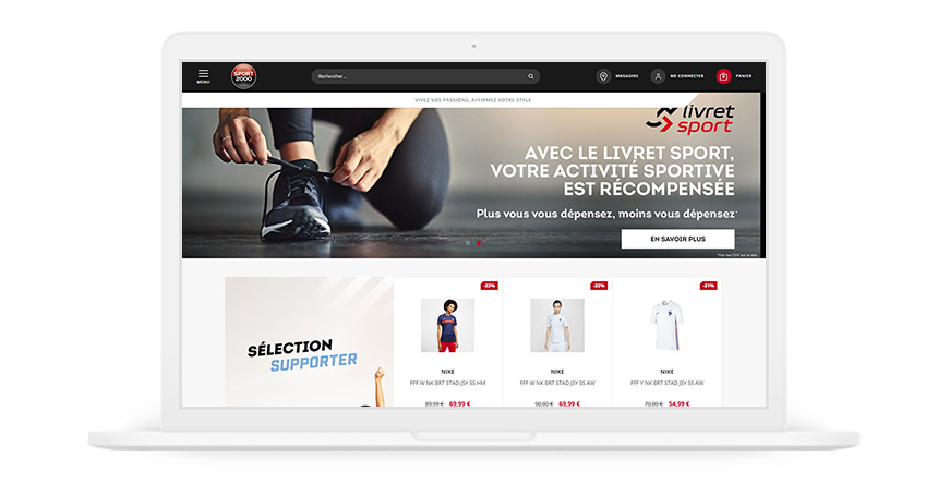 Aperçu du site e-commerce de Sport 2000 dans un iMac