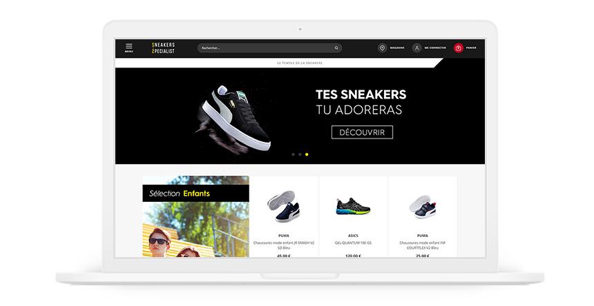 Site Internet de Sneakers Specialist dans un iMac