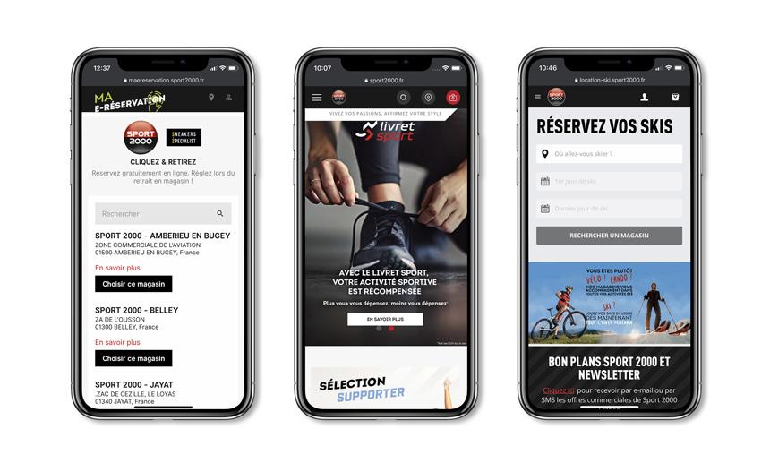 iPhone avec site mobile de Sport 2000