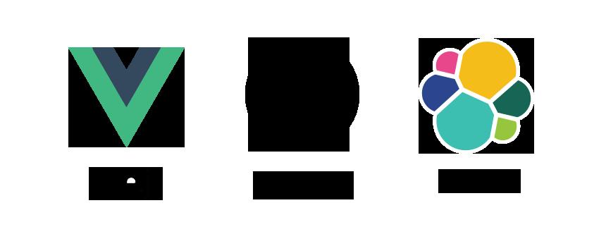 Logos des technologies utilisées : Vue.js, Symfony Elastic search